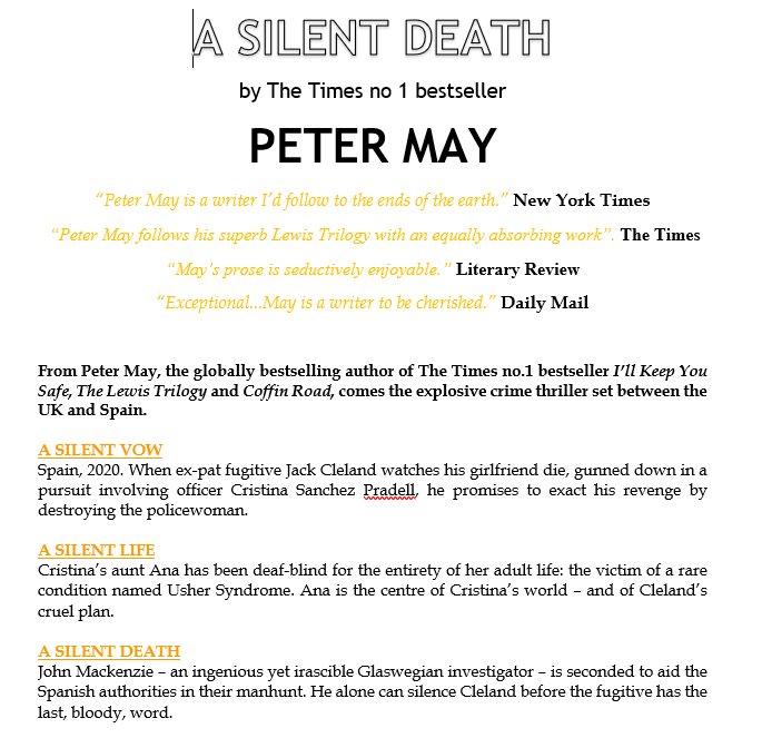 press release for A Silent Death
