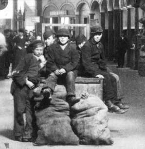 Group of boys in Inverness Indoor Market 1870