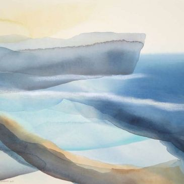 Peter Davis, North Stole, Watercolour with chalk rubbing on paper, 2018
